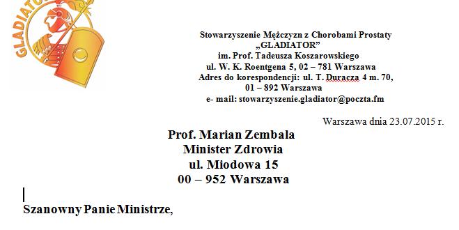 List do Ministra Zdrowia w sprawie refundacji dichlorku radu 223